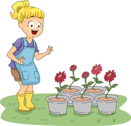 Illustration of a Kid Paying Her Plants a Visit Stock Photo