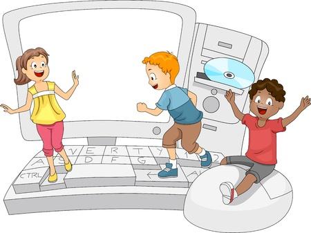 computadora caricatura: Ilustración de niños jugando con un gigante de la informática