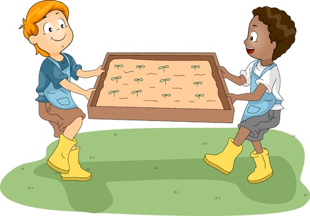 transferring: Illustration of Kids Transferring a Plant Box