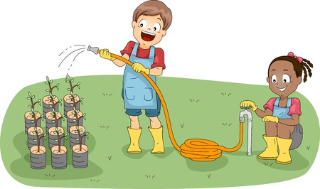 Illustration of Kids Watering Plants illustration