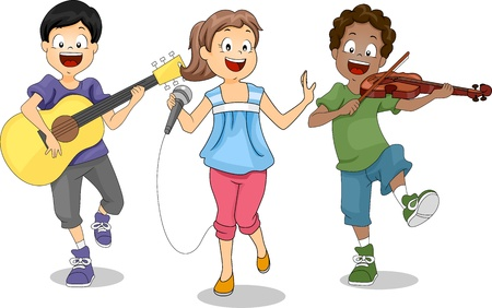 guitarists: Illustration of Kids Demonstrating Their Talents Stock Photo