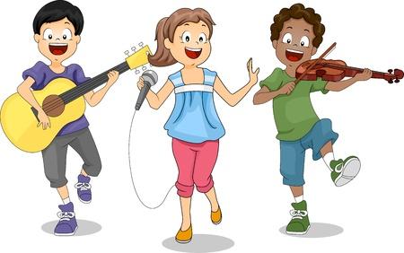 violinista: Ilustraci�n de ni�os Demostrando su talento
