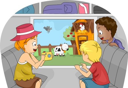 farm boys: Illustration of Kids on a Trip to a Farm