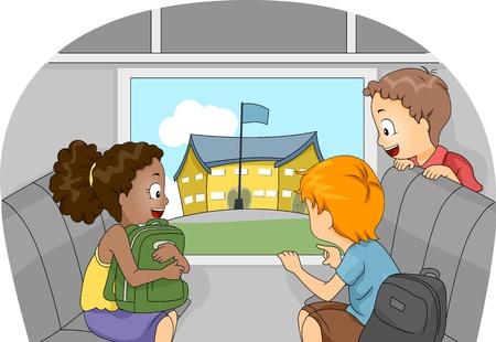 Illustration von Kids auf einer Exkursion in eine andere Schule