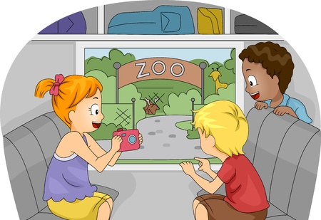 zoo cartoon: Illustration of Kids on a Trip to the Zoo
