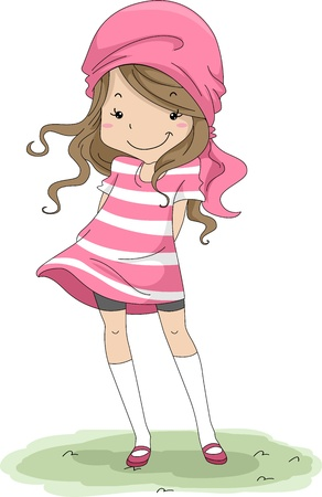 Illustration of a Cute Girl in a Large T-Shirt
