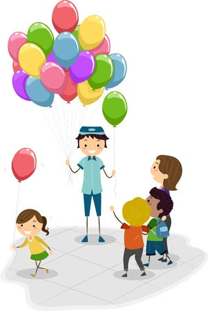 vendors: Illustration of a Vendor Selling Balloons Stock Photo