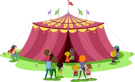 Illustration of Families About to Go Inside a Circus Tent illustration