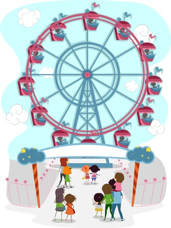 Illustration of a Family Going to Ride in a Ferris Wheel illustration
