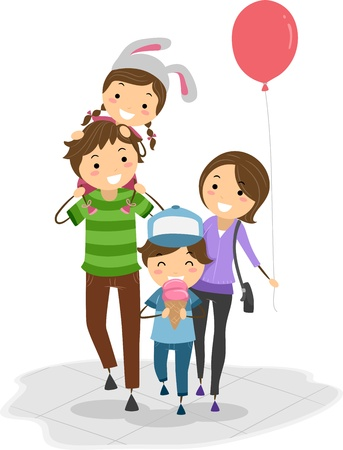 family isolated: Illustration of a Family in a Theme Park