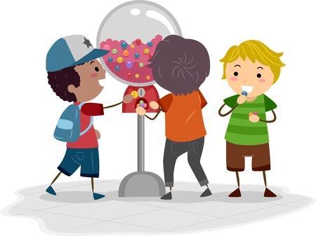 distributeur automatique: Illustration de Kids aide d'un distributeur automatique