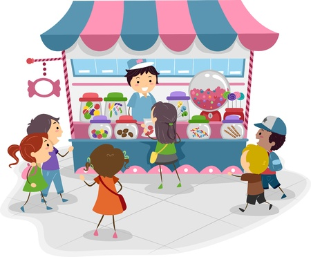 Illustration of Kids Heading to a Candy Store Stock Photo