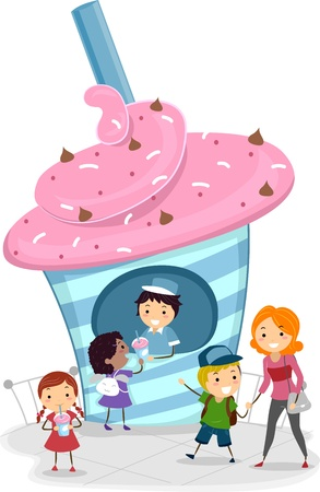Illustration of Kids Buying Frozen Drinks illustration