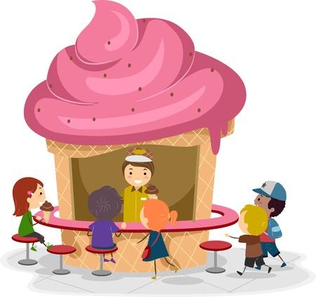 helado caricatura: Ilustración de los niños En torno a un puesto de helados Foto de archivo