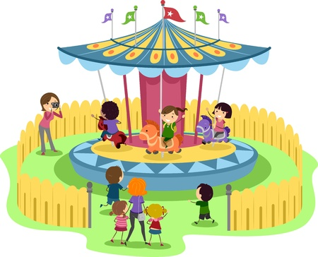carousel: Illustration of Kids Riding a Merry-Go-Round