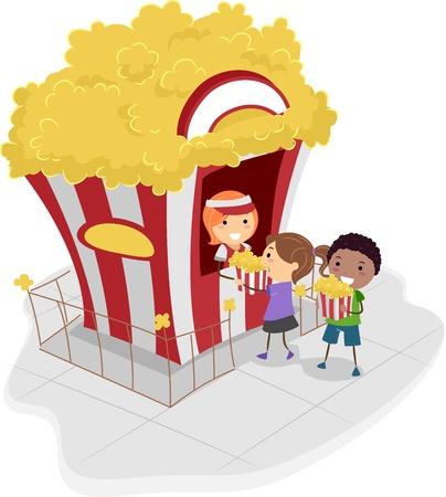 buying: Illustration of Kids Buying Popcorn