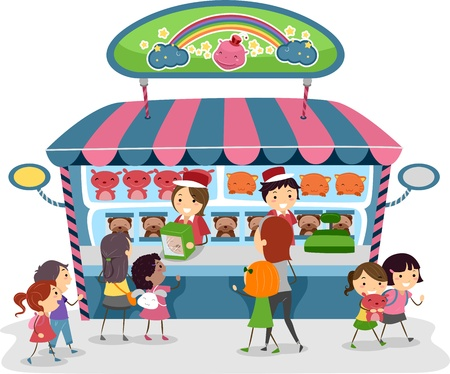 Illustration of Kids Buying Souvenirs from a Toy Store illustration