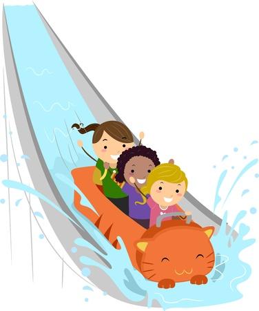 water park: Illustration of Kids Enjoying a Water Ride