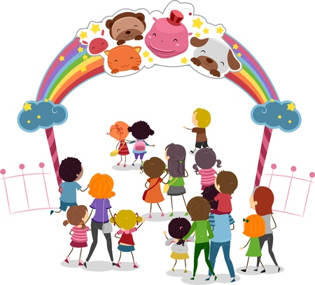 Illustration of Families Entering a Theme Park