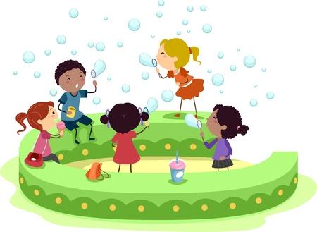 niños jugando caricatura: Ilustración de niños jugando con burbujas