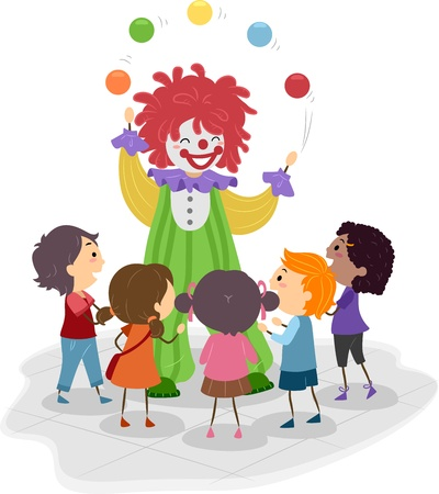 juggling: Illustration of Kids Watching a Clown Perform