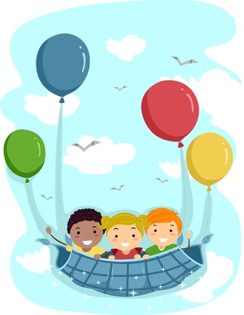 carried: Illustration of Kids Being Carried Away by Balloons