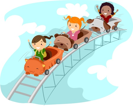 Illustration of Kids Riding a Rollercoaster Stock Photo