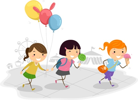 kids having fun: Illustration of Kids Having Fun at a Theme Park