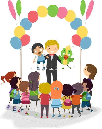 Illustration of a Ventriloquist Demonstrating His Talent illustration