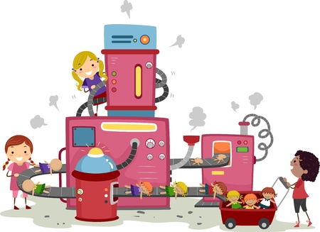 Illustration of young Girls playing in a Doll Factory Stock Illustration - 11197742