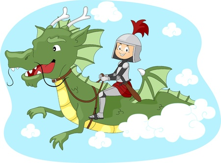feudal: Illustration of a Kid Riding a Dragon Stock Photo