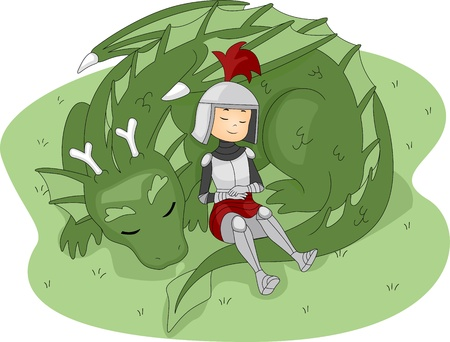 cartoon prince: Illustration of a Knight Leaning Against a Dragon