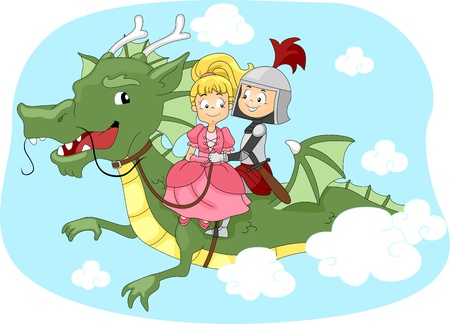 Illustration of a Knight and Princess Riding a Dragon illustration