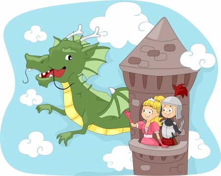 Illustration of a Dragon Passing by a Tower illustration