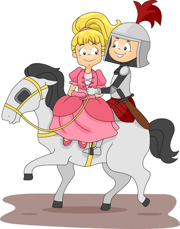 Illustration of a Knight and Princess Riding a Horse illustration