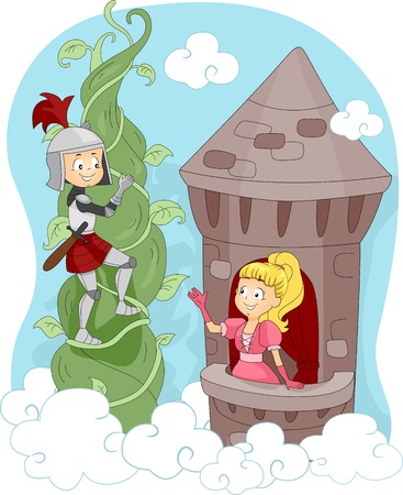damsel: Illustration of a Knight Rescuing a Princess