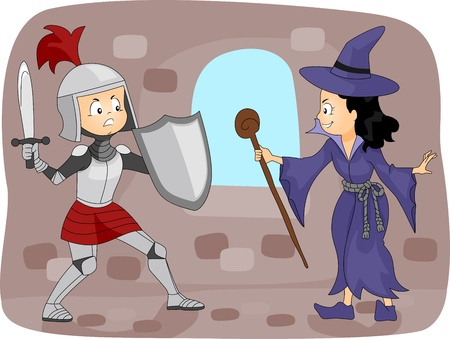 Illustration of a Knight Fighting a Witch illustration