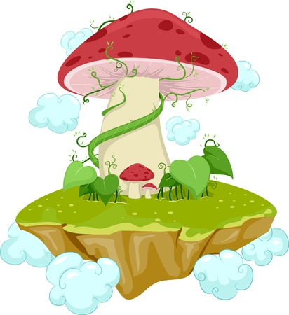 Illustration of an Island Made From Mushrooms illustration