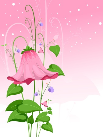 Illustration of a Giant Pink Flower illustration
