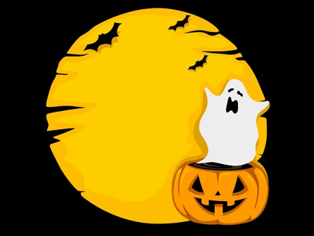 halloween ghost: Background Illustration of a Ghost Hovering Over a Jack-o-Lantern Stock Photo