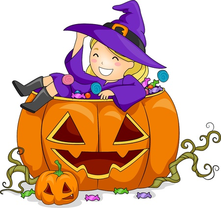 Illustration of a Girl on Pumpkin illustration