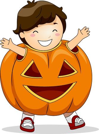 Illustration of a Boy Dressed in a Pumpkin Costume illustration