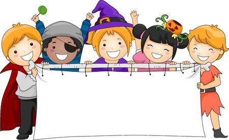 citrouille halloween: Illustration des enfants tenant une banni�re vierge Banque d'images