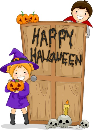 Illustration of Kids Celebrating Halloween illustration