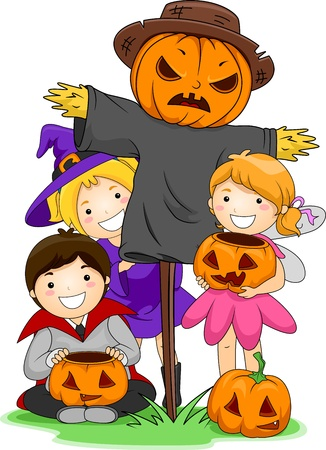 scarecrow: Illustration of Kids Posing Beside a Scarecrow