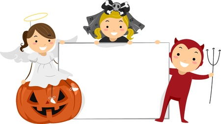 teufel engel: Illustration von Kids Posing mit einem Blank Board