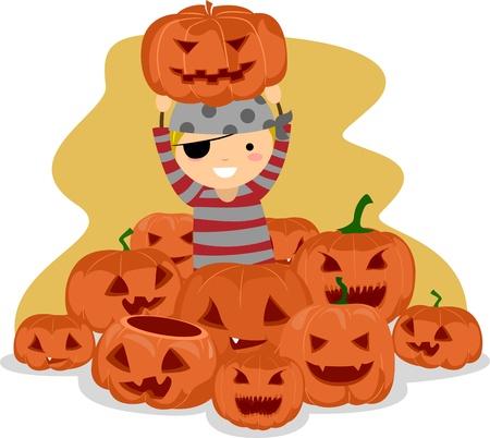 calabaza caricatura: Ilustraci�n de un chico rodeado de Jack-o-linternas Foto de archivo