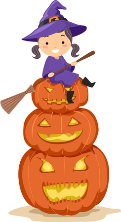 broomstick: Illustration of a Kid Sitting on a Pile of Jack-o-Lanterns Stock Photo