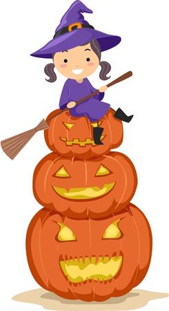 brujas caricatura: Ilustraci�n de un ni�o sentado en una pila de Jack-o-linternas