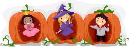 Illustration of Kids Playing inside Hollow Pumpkins illustration